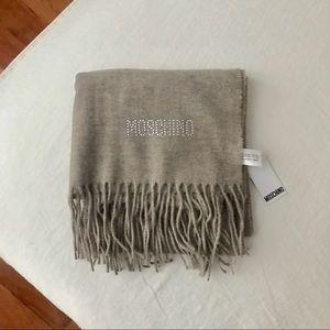 NEW moschino merino lambswool designer scarf beige